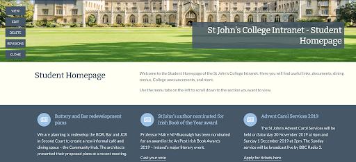 St John's student homepage