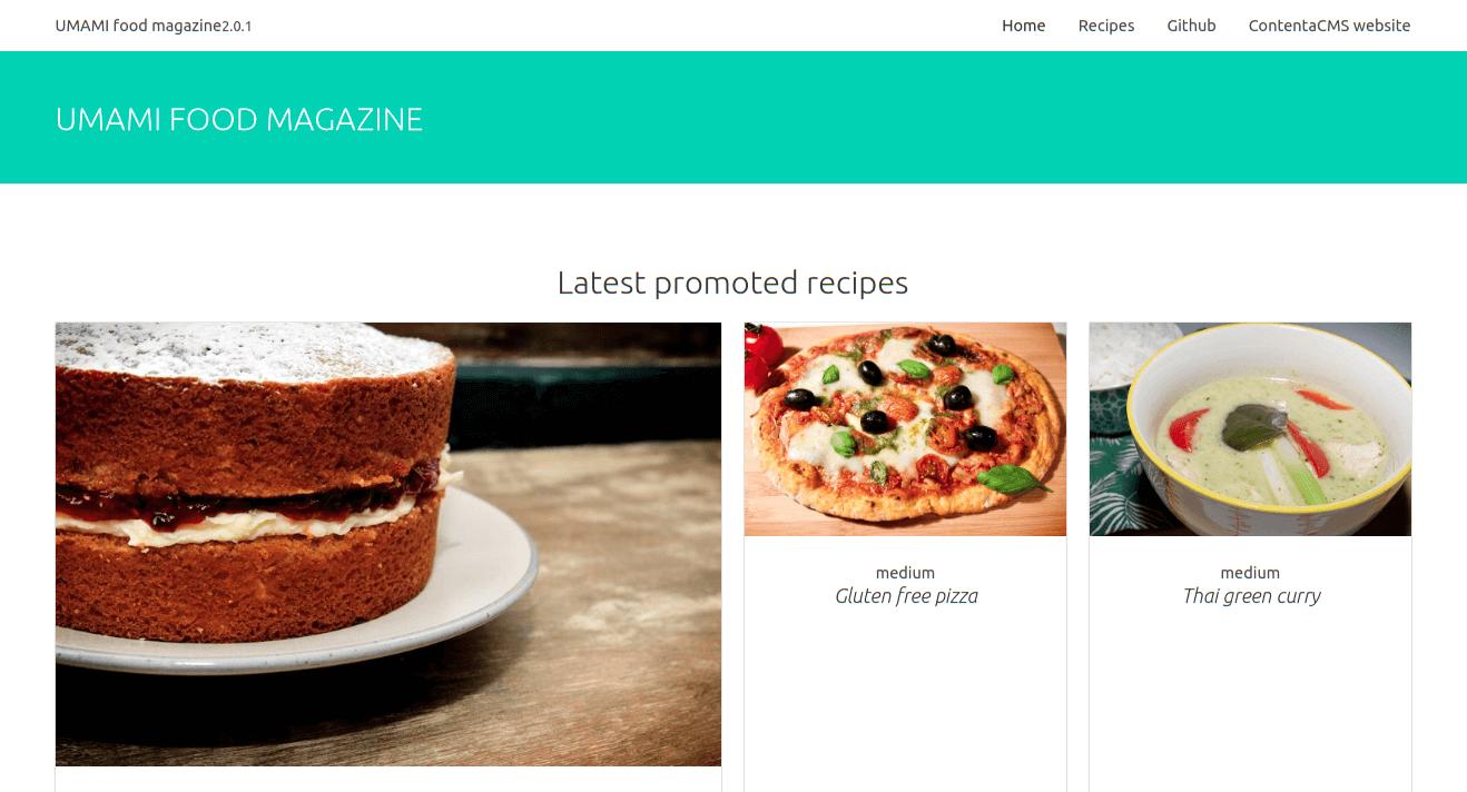 Contenta, consumed through a Vue.JS site.