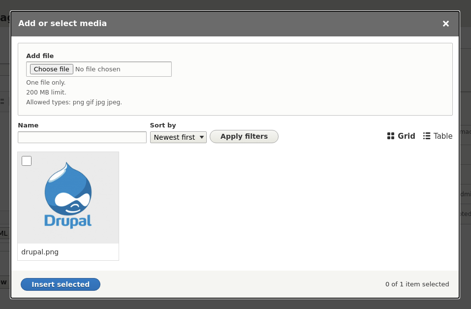 The Drupal media library, showing the media library media selection interface.