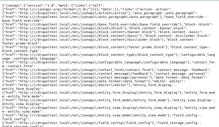 Drupal JSON:API output showing some sample JSON from the Umami install profile.