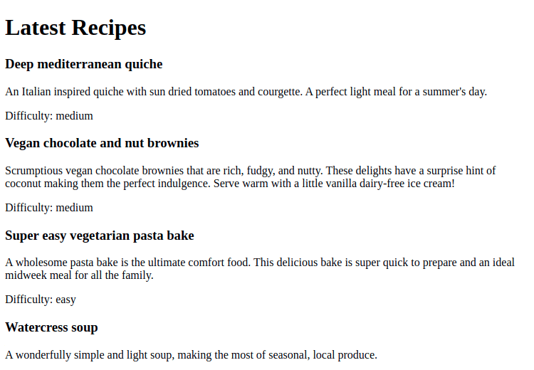 A page in a Gatsby application, showing a list of recipes from Drupal.