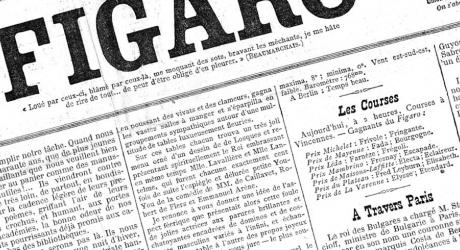 An, awkwardly roatated so it's hard to read the words but designers love it, photo of the newspaper from a long time ago when France had Francs/