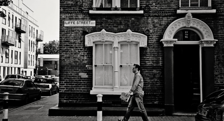 Black and white London street