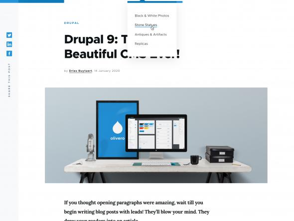 The new Drupal front end theme, Olivaro.