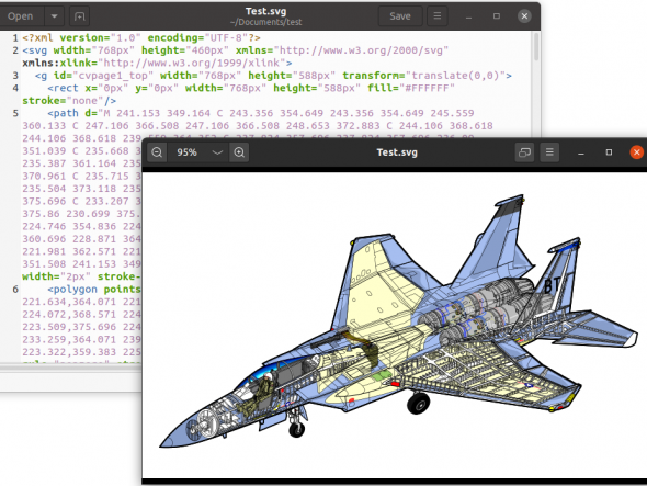 An SVG image opened in a text editor and a image viewer.