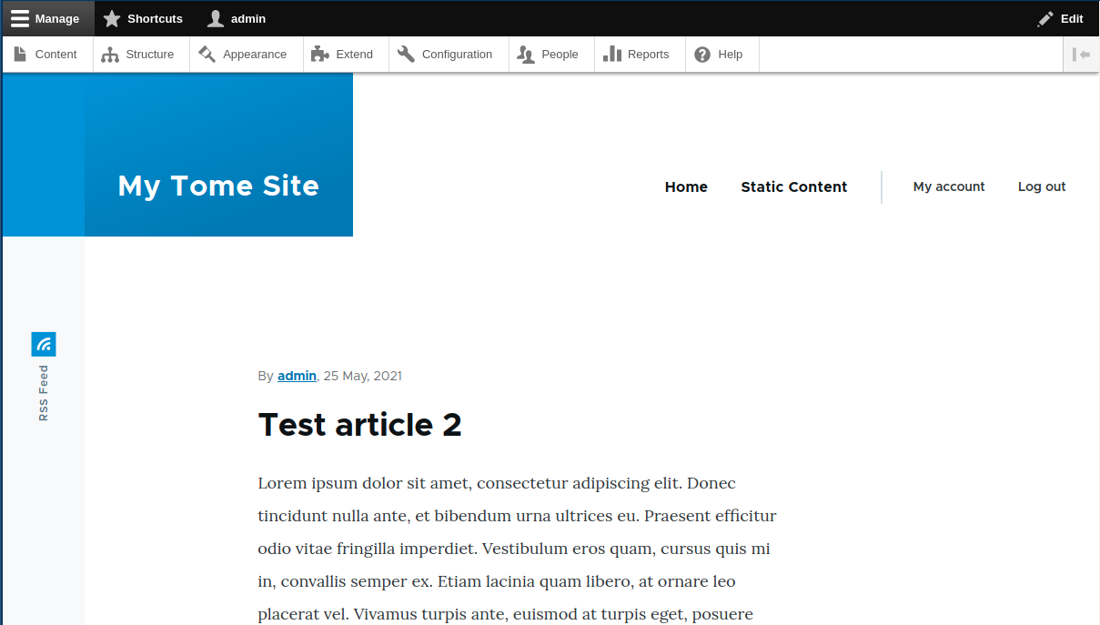 Tome module install, showing a finished Drupal setup with content and a new theme.